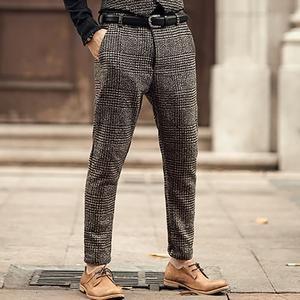 9cdf785a954 New Metrosexual men winter European style plaid slim stretch woolen casual  trousers men business brand fashion