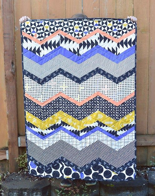 This month I used my Culcita Box  fabrics to make a chevron baby quilt. Like I mentioned , these fabrics are a little outside my comfort zo...