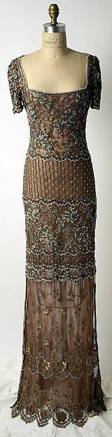 """Evening dress Designer: Badgley Mischka (American, founded 1988) Date: fall/winter 1997–98 Culture: American Medium: synthetic, silk, glass, plastic"" (quote) ©The Metropolitan Museum of Art via metmuseum.org"