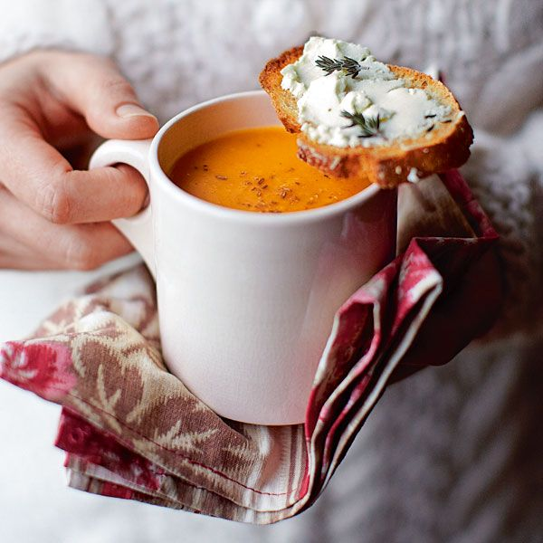Cumin compliments squash beautifully in this comforting soup. It's low calorie, even when served with cheesy toasts.