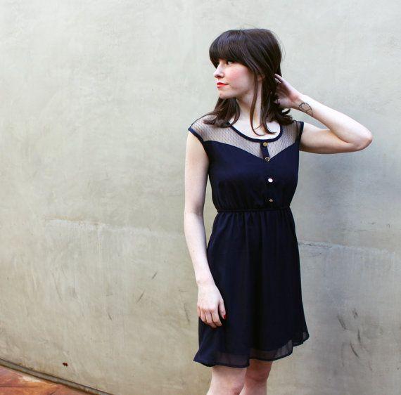 PETIT DEJEUNER  Bleu / Navy  Black Lace by FleetCollection on Etsy, $48.00