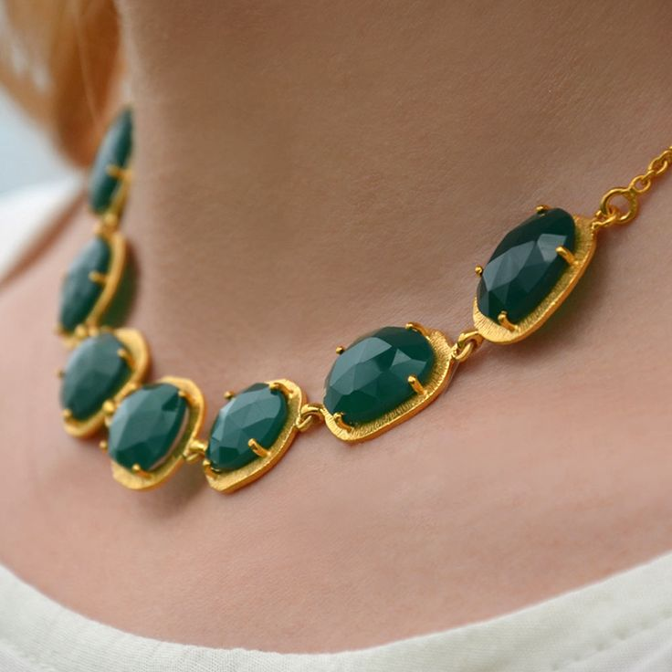 Cuff and Stone Gold and Green Onyx Gemstone Collar Necklace