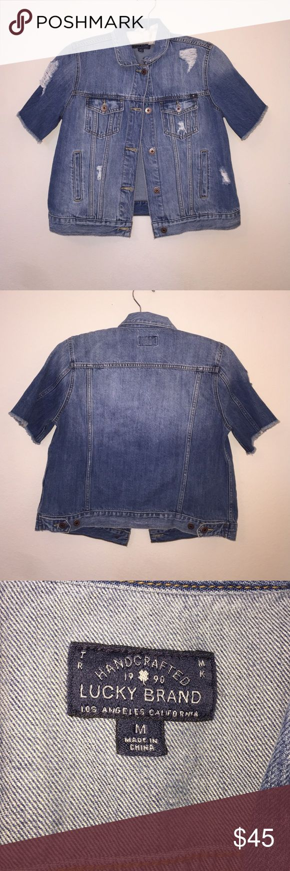 """Lucky Short Sleeve Jean Jacket Item in excellent condition! Size is a women's M. Measurements: 21"""" long. 18"""" armpit-armpit. Lucky Brand Jackets & Coats"""
