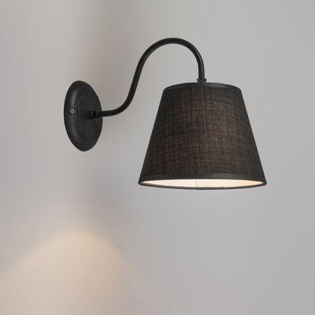Wandlamp Silea Down met kap zwart