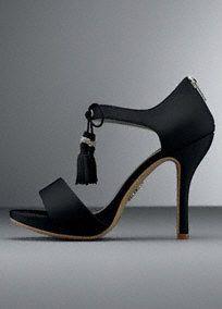White by Vera Wang Platform Sandal with Tassel Tie, Style VW371450 #davidsbridal #shoes #weddings #blacktie