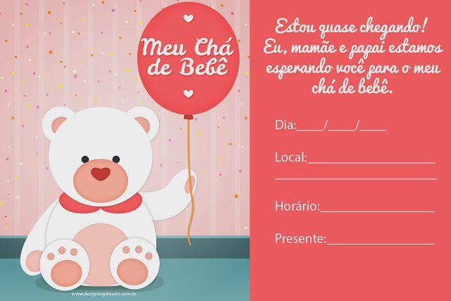 Convites para Chá de Bebê editáveis grátis para baixar, editar e imprimir