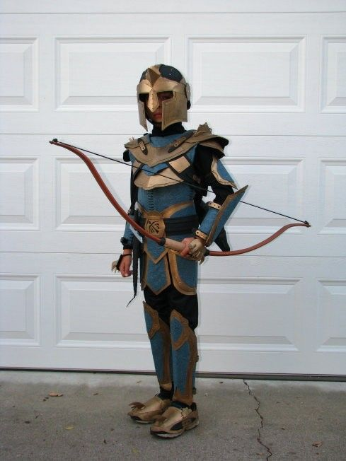 Archery Knight costume made from cardboard, foam and felt by Rachel and Tom Morgan