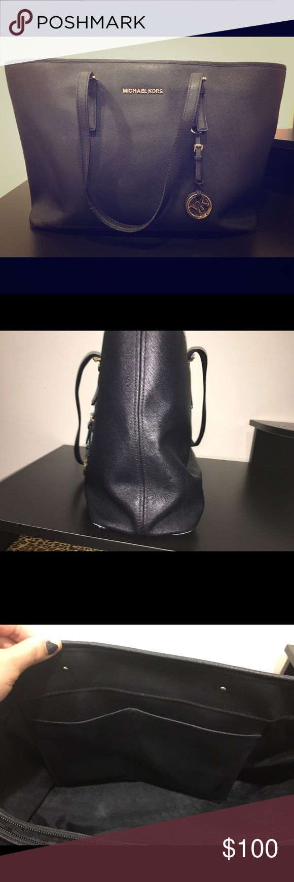 Authentic Michael Kors Jetset bag Black Michael Kors Jetset bag. Used, in decent condition. Minor tears to the lining at the bottom and a bit out of shape from use but hardly noticeable when in use. Michael Kors Bags Shoulder Bags