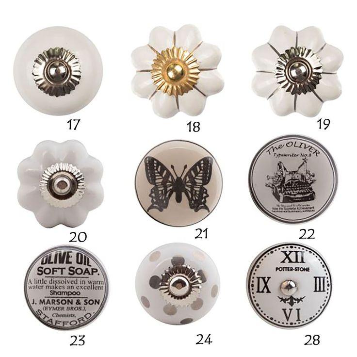 Möbelknopf Porzellan Möbelknauf Schwarz-Weiß Keramik Vintage Shabby Chic Olive