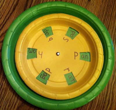 Word Wheel Activity: Six additional word endings are hidden under the smaller paper plate, but are revealed as you spin. You can practice by matching each of the 12 word endings with a single initial consonant or by sliding all 6 initial consonants by the same word ending.