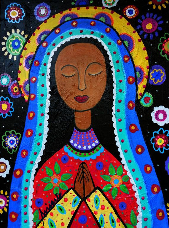 Mexican Folk Art Our Lady of Virgin Guadalupe Painting PRINT Whimsical Flowers via Etsy
