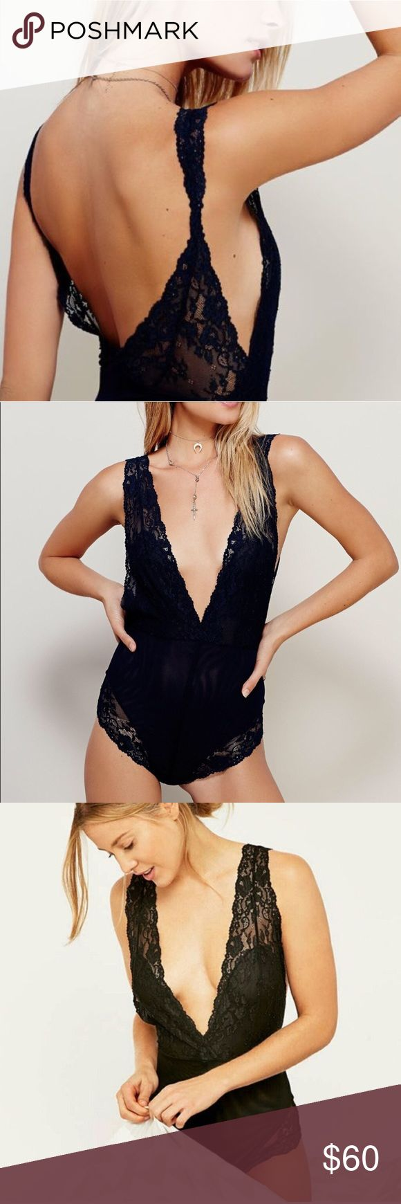 Free People Bodysuit Never worn. Black body suit that can be worn underneath dresses or tops to peek out beautifully or as a tank w/ pants. It's a smooth, soft lace that you'll love slipping into whether you're climbing into bed or heading out and about in style. Free People Intimates & Sleepwear
