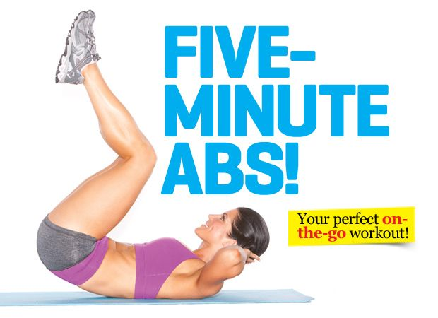 Five-minute Abs! We've got three variations of three moves – one each for beginners, intermediate exercisers and the more advanced.