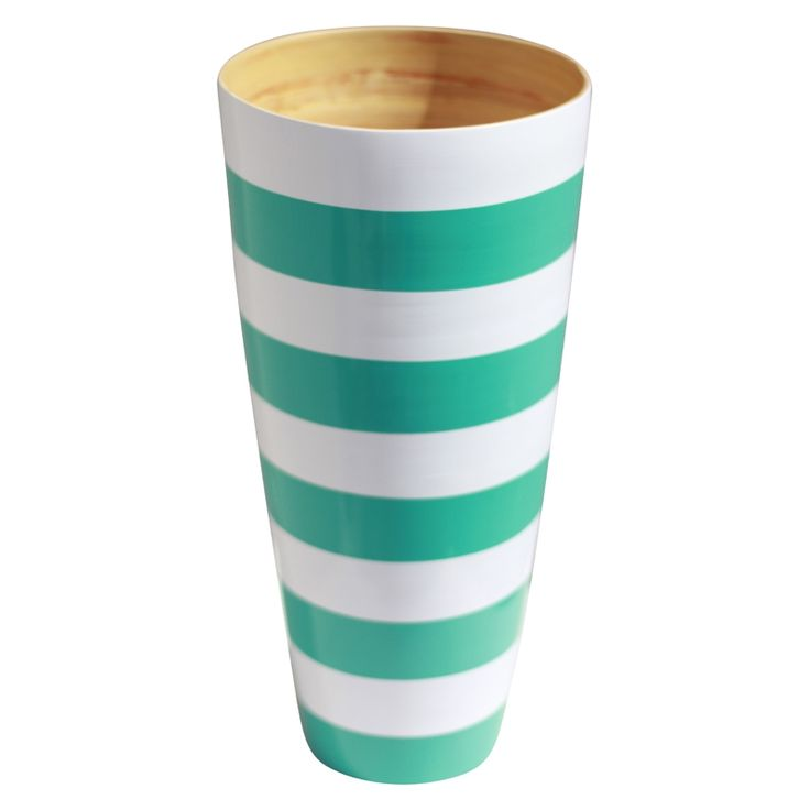 Vase in turquoise and white stripe