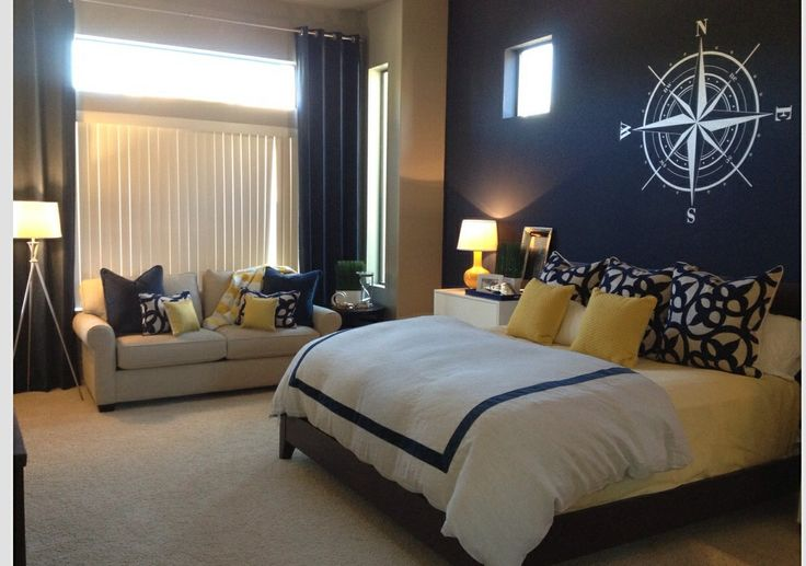 Navy blue accent wall yellow accents master bedroom for Bedroom ideas nautical
