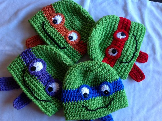 Crochet Teenage Mutant Ninja Turtles Hat - Green, with ...