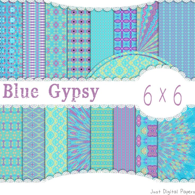 Blue Pattern Paper, Purple pattern Paper, Gypsy Paper,  Printable paper, Instant Download, Scrapbook Paper, whimsy paper, 6x6 by JustDigitalPapers on Etsy