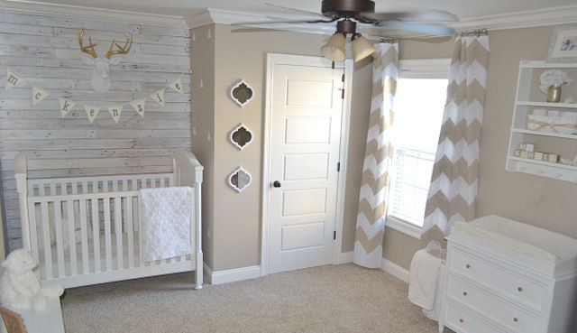 Taupe is the new neutral, and although I'm usually a color-loving kinda girl, this sweet, rustic nursery has found a special place in my heart. This is the perfect example of not going overboard with any one trend. The chevron curtains, pallet wall and adorable wooden flag letters all come together as nursery design perfection!