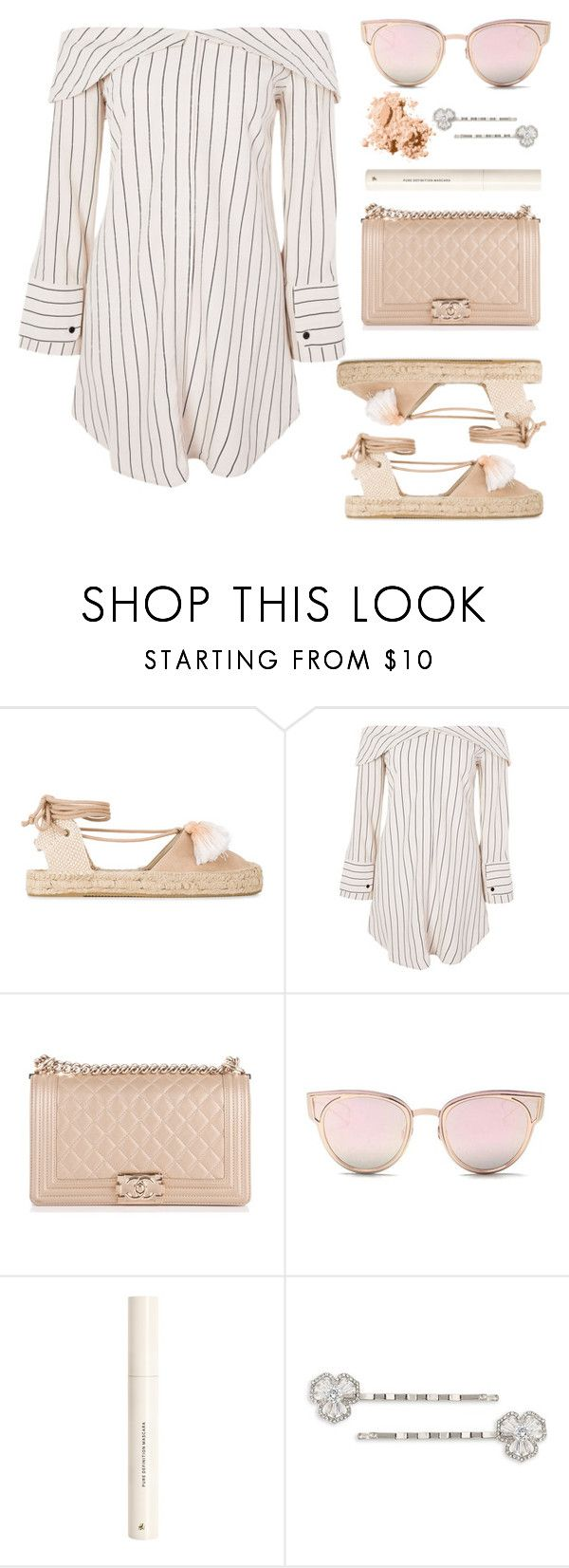 """""""Espadrilles"""" by libbytu ❤ liked on Polyvore featuring Soludos, Topshop, Chanel, LMNT, H&M, Carolee and Bobbi Brown Cosmetics"""