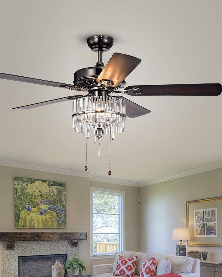 Crystal Chandelier Ceiling Fan, Black Chrome Crystal Chandelier