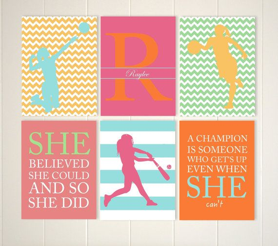 Softball, Volleyball Girl, Basketball Girl, Softball Room Decor, Volleyball  Wall Art, Set Of 6, Choose Your Colors And Sports