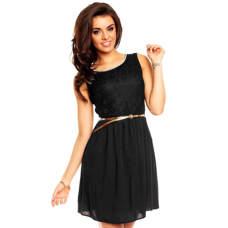 Dámské společenské šaty s krajkovým vrchním dílem černé