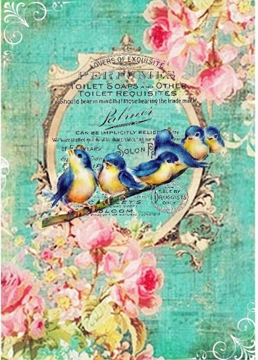 Bluebirds, watery aqua green, lovely pink, typography in background.