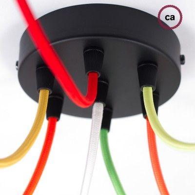 Set Lampenfassung Zylinder bestehend aus Metallhülse in Schwarz + E27 Fassung + Kabelhalter in Schwarz
