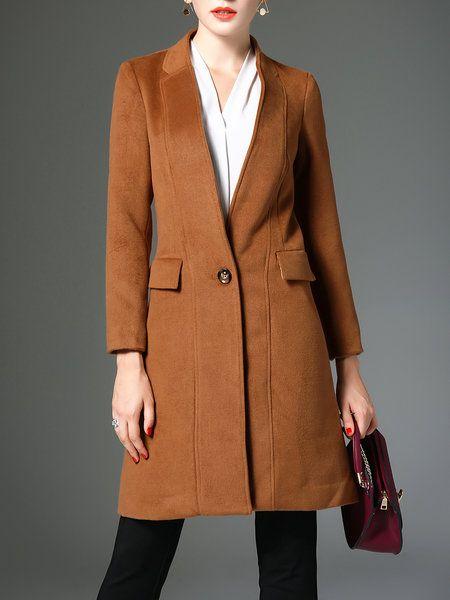 JEAN DAVIS BOARDS Shop Coats - Black Pockets Wool Blend Solid Long Sleeve Coat online. Discover unique designers fashion at StyleWe.com.