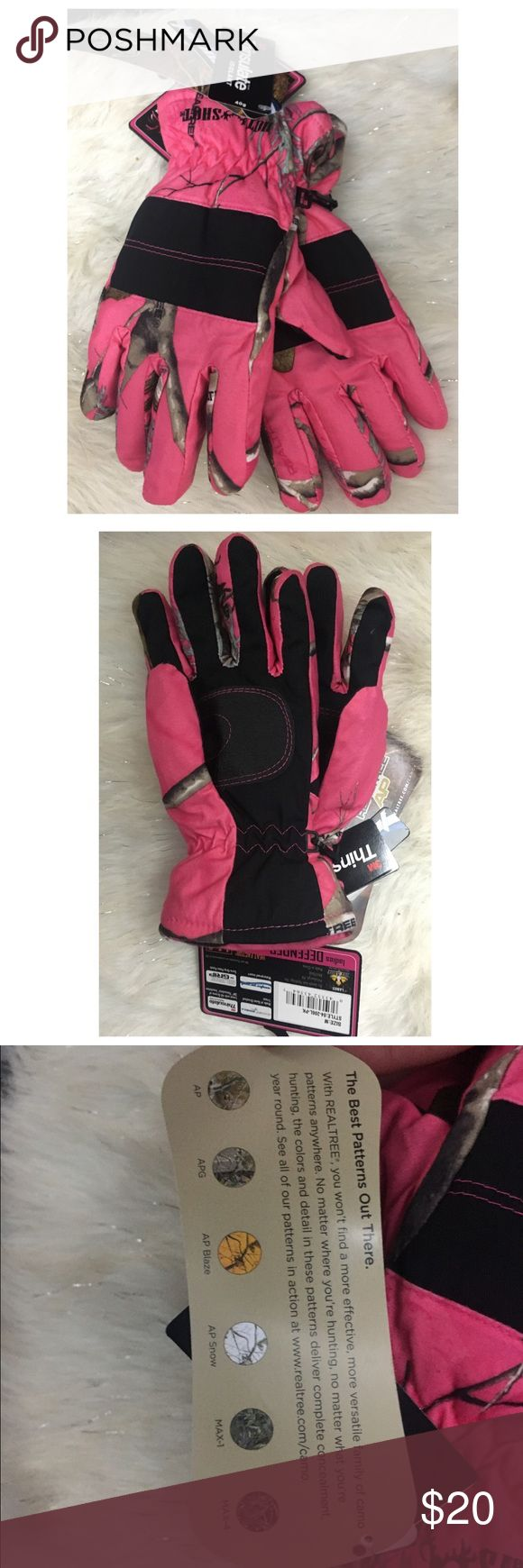 Ladies leather gloves with thinsulate - Pink Camo Realtree Gloves M Insulated Hot Shot Boutique