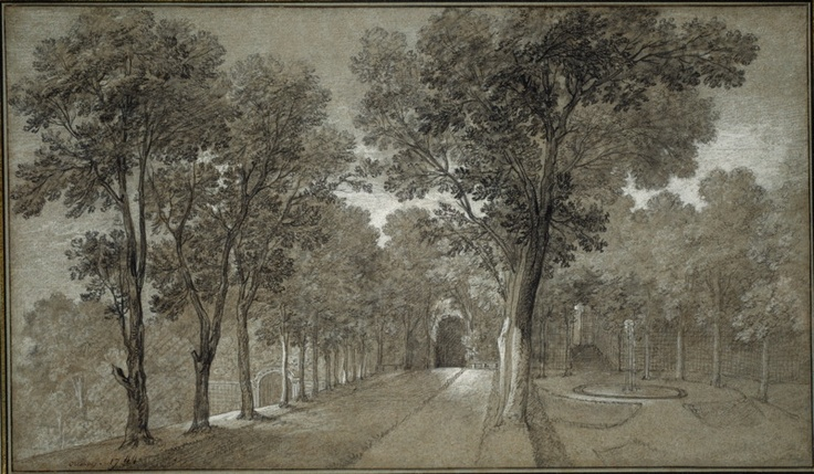 Jean Baptiste Oudry  French, 1686-1755    View of the Park at Arcueil, 1744    Black chalk with white chalk and charcoal, on gray laid paper with blue fibers, laid down on cream card