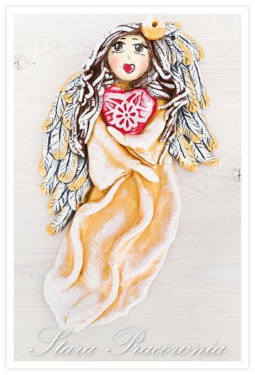 aniołki z masy solnej, aniołek z masy solnej, anioł z masy solnej, masa solna, salt dough, salt dough angels, salt dough angel www.masa-solna.pl www.starapracownia.blogspot.com