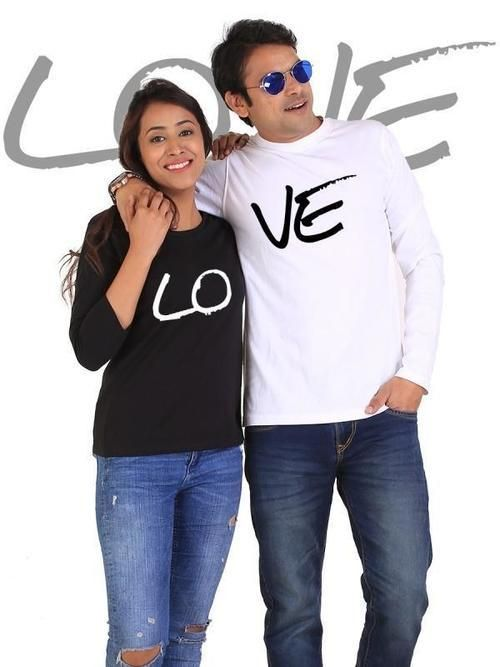 LOVE Couple Full Sleeves Black & White - LoveLuve