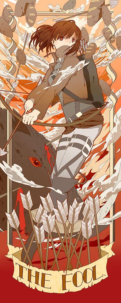 Sasha   Shingeki no Kyojin #anime Me thinkies that this is related to those tarotty-cards.