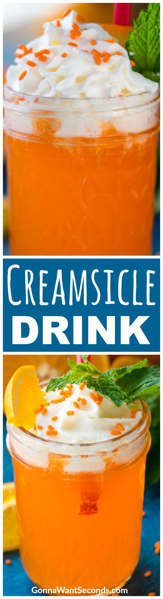 """You say """"creamsicle,"""" I say cocktail! This Creamsicle Drink recipe marries orange and vanilla cream with vodka to make one sweet bubbly beverage that's sure to conjure happy memories of forgotten summer treats. #Vodka #Alcohol #Parties #Cocktails #Orange #WhippedCream"""