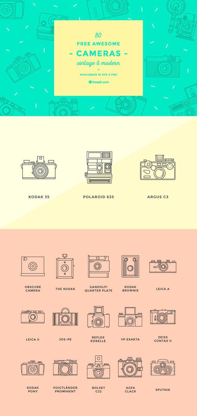 無料素材:機種まで正確に描き分け!カメラのアウトラインアイコン80個セット