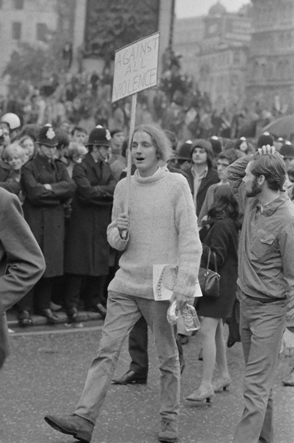 Against All Violence at the anti-Vietnam war march in 1968.