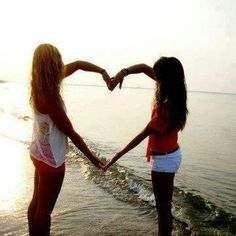 friends making a love heart on the beach - Google Search