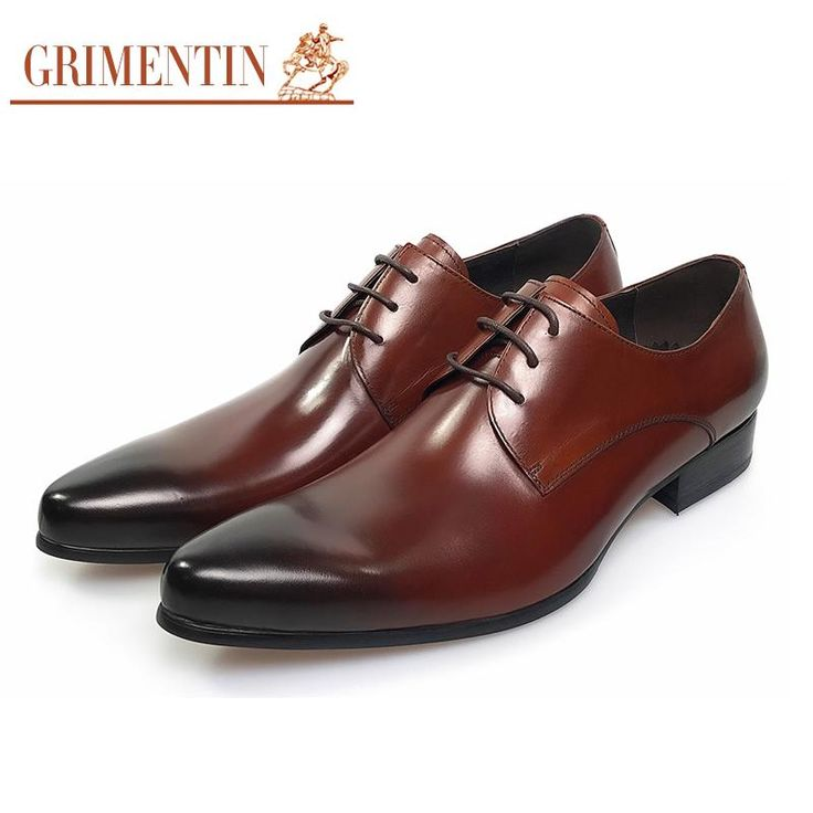 GRIMENTIN Italian Fashion formal mens dress shoes genuine leather brown wedding male shoes 2017