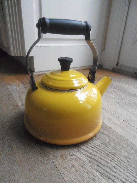 Vintage Le Creuset Yellow Tea Pot Tea Kettle Vintage