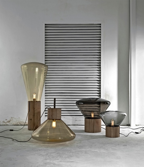 The Muffin Lamp combines the use of hand-blown glass with oak wood as its base and is designed by Dan Yeffet and Lucie Koldova for Brokis.