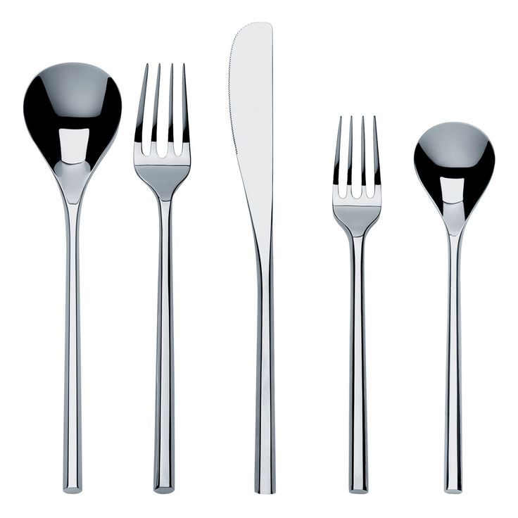 Alessi MU Flatware Place Setting  Created by award-winning Japanese architect and designer Toyo Ito, this distinctive cutlery set draws on the tactile sensation of chopsticks. Its sleek, linear lines are softened with an organic quality inspired by plants. The result is an elegant harmony. Composed of one table spoon, one table fork, one table knife and one dessert fork in 18/10 mirror polished stainless steel.