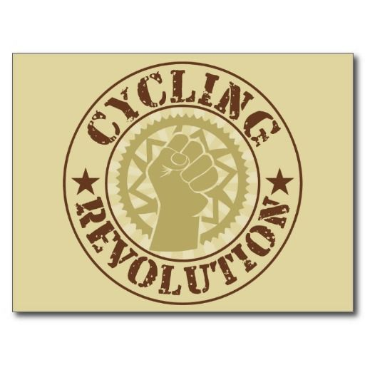 Cycling revolution badge postcard