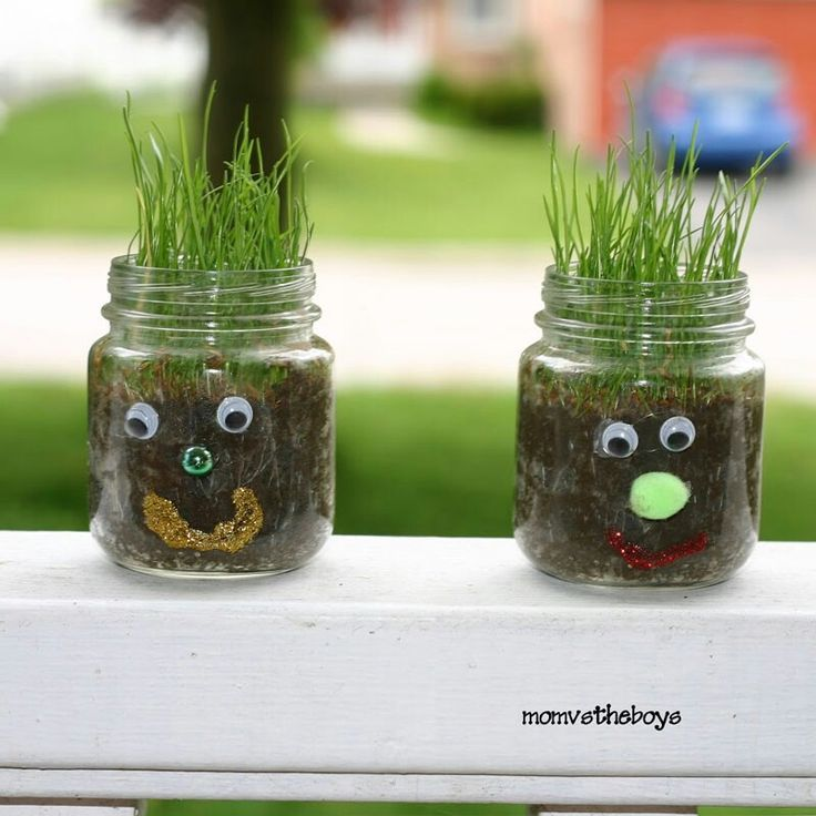 Kleine Glas-Köpfe mit Kindern pflanzen | Welcome to Sunday Funday craft time! It's hard for kids to be indoors during the wait for spring and green stuff to grow. But with this project you can bring the fun inside! Try these baby jar grass faces.