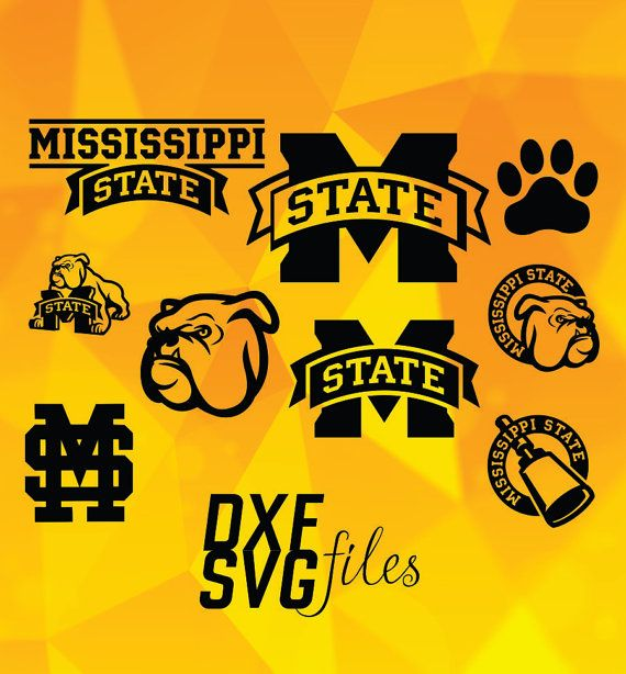 9 Mississippi State Bulldogs logos in DXF PNG and SVG by dxfsvg