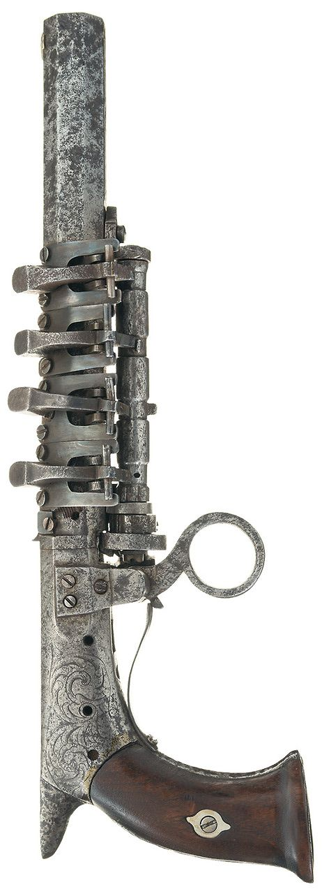 Unique superimposed load ratchet fire pistol, early to mid 19th century. Sold in Sept 2014 at Rock Island Auction Company