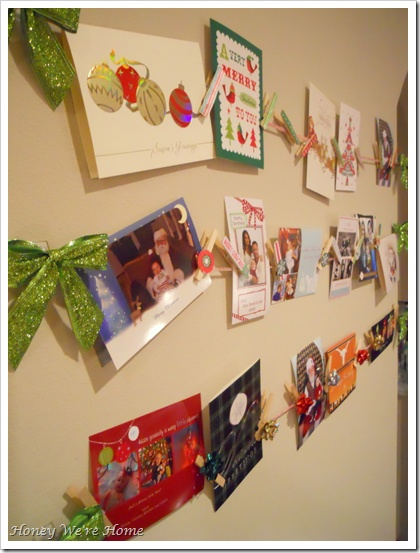 Clothespin Holiday Card Display...  Good idea for our brick mantle.  Could work with twine or ribbon.  #christmas