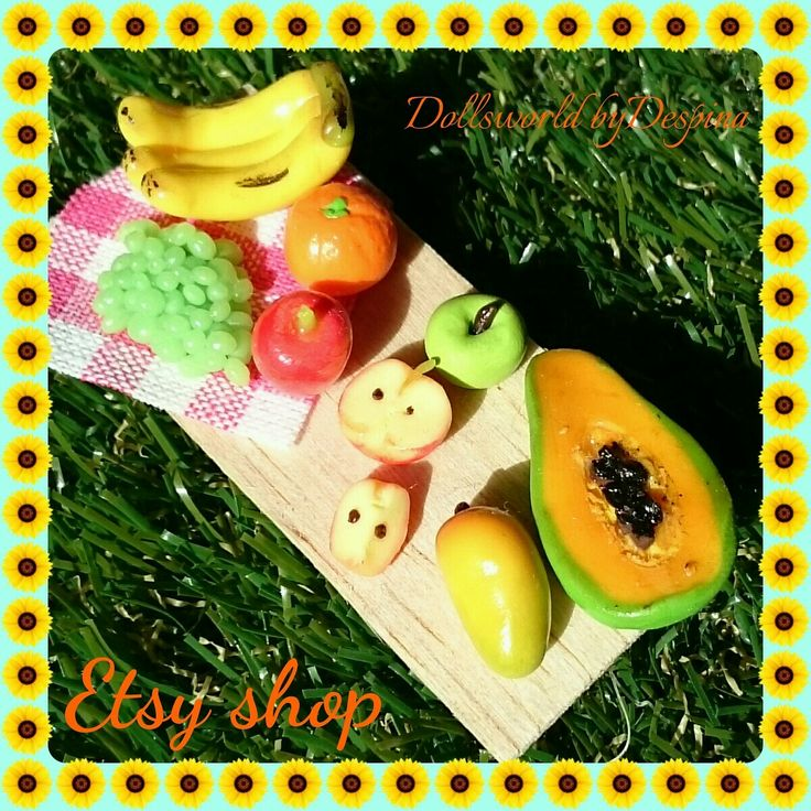 Miniature wooden container with fresh fruits made from polymer clay available in my shop on Etsy