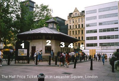 Day 3  Our 1st stop today is at the Society of London Theatre's Half Price Theatre Ticket Booth in Leicester Square, to be at the front of the queue to pick up some tickets for a show tonight.