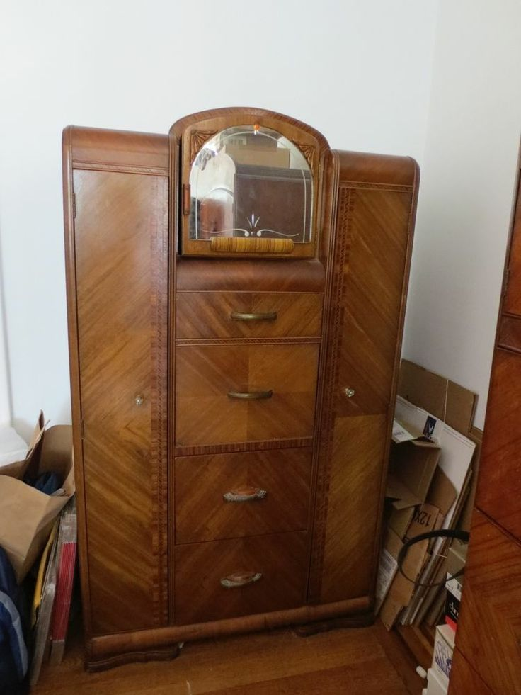 Waterfall Style Art Deco Chifferobe Armoire Wardrobe